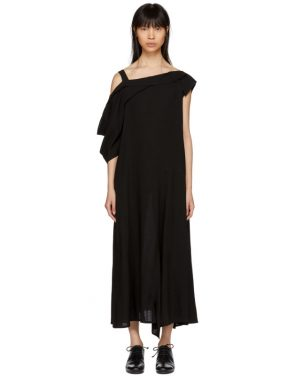 photo Black Asymmetric Draped Strap Dress by Yohji Yamamoto - Image 1