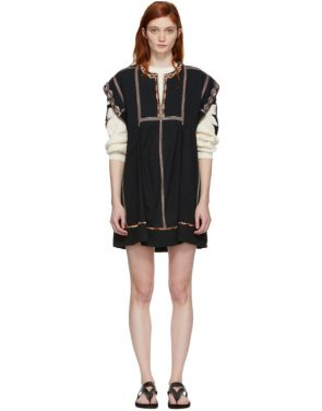 photo Black Embroidered Belissa Dress by Isabel Marant Etoile - Image 1