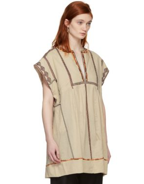 photo Beige Embroidered Belissa Dress by Isabel Marant Etoile - Image 2