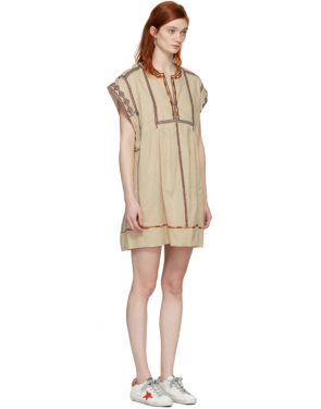 photo Beige Embroidered Belissa Dress by Isabel Marant Etoile - Image 4