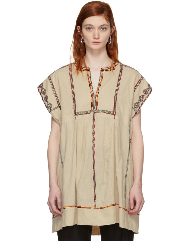 photo Beige Embroidered Belissa Dress by Isabel Marant Etoile - Image 1