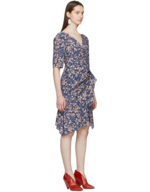 photo Blue Silk Brodie Dress by Isabel Marant - Image 2