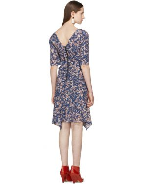 photo Blue Silk Brodie Dress by Isabel Marant - Image 3
