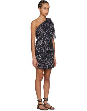 photo Navy Myron Metallic Bloom Off-the-Shoulder Dress by Isabel Marant - Image 2