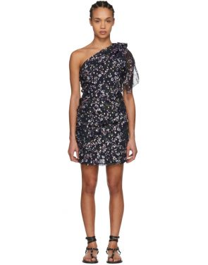 photo Navy Myron Metallic Bloom Off-the-Shoulder Dress by Isabel Marant - Image 1