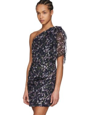 photo Navy Myron Metallic Bloom Off-the-Shoulder Dress by Isabel Marant - Image 4