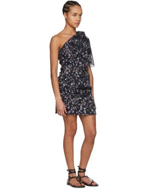 photo Navy Myron Metallic Bloom Off-the-Shoulder Dress by Isabel Marant - Image 5