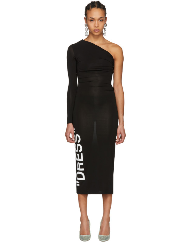 photo Black Dress One-Shoulder Dress by Off-White - Image 1