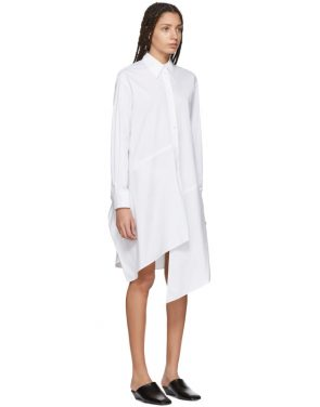 photo White Poplin Asymmetric Shirt Dress by Jil Sander Navy - Image 2