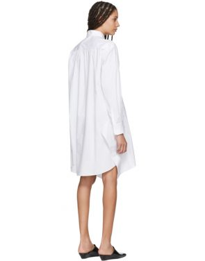 photo White Poplin Asymmetric Shirt Dress by Jil Sander Navy - Image 3