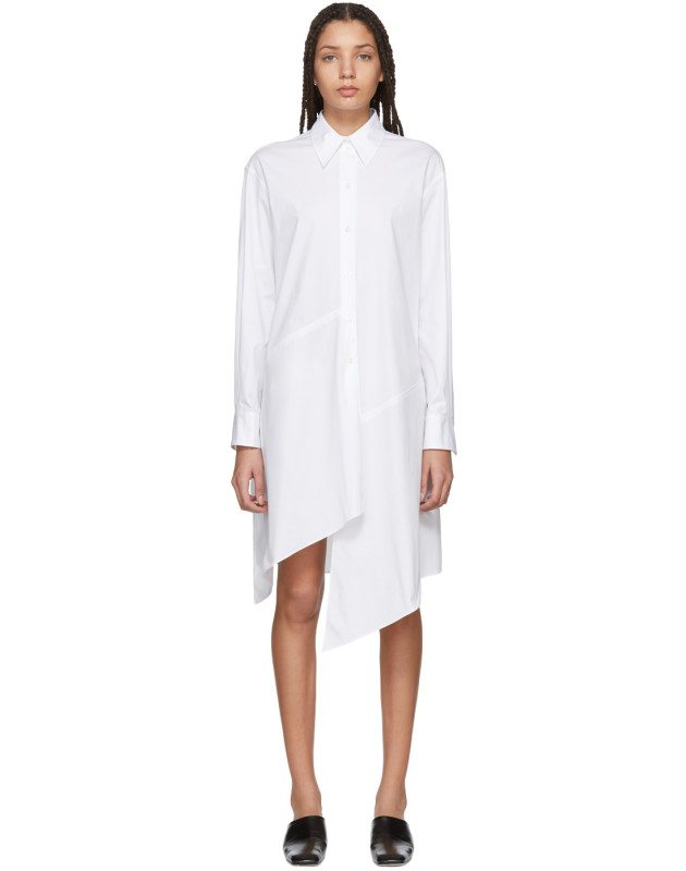 photo White Poplin Asymmetric Shirt Dress by Jil Sander Navy - Image 1