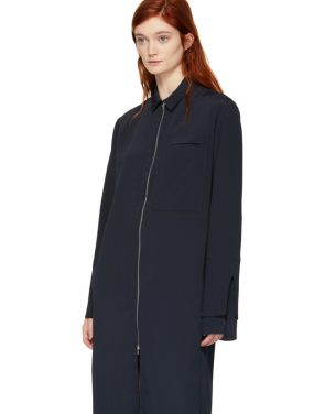 photo Navy Zip Front Shirt Dress by Nomia - Image 4