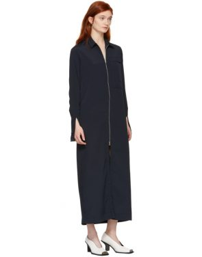 photo Navy Zip Front Shirt Dress by Nomia - Image 5