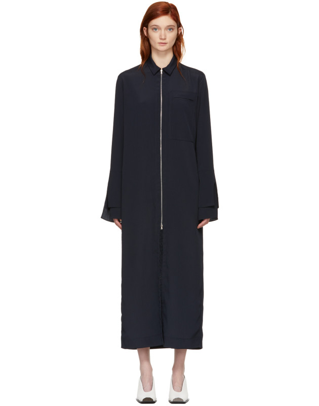 photo Navy Zip Front Shirt Dress by Nomia - Image 1