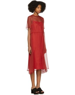 photo Red Chiffon Voluminous Dress by Mansur Gavriel - Image 2