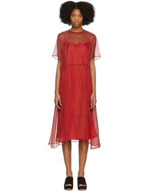photo Red Chiffon Voluminous Dress by Mansur Gavriel - Image 1