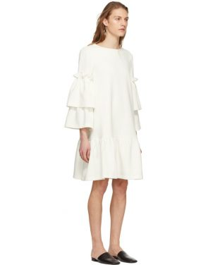 photo Off-White Tiered Sleeve Full Peplum Dress by Edit - Image 2