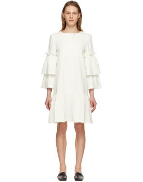 photo Off-White Tiered Sleeve Full Peplum Dress by Edit - Image 1