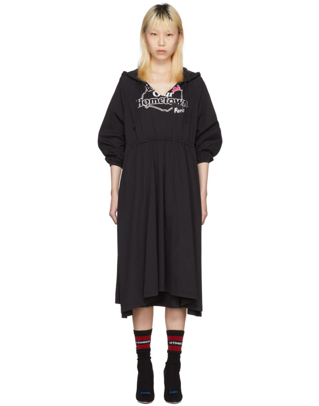 photo Black Hometown Hooded Jersey Dress by Vetements - Image 1