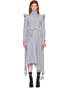 photo White and Black Ruffle All Over Logo Dress by Vetements - Image 1