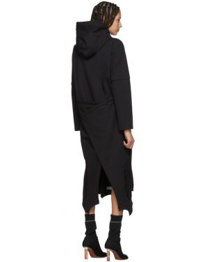 photo Black Panelled Hooded Dress by Vetements - Image 3