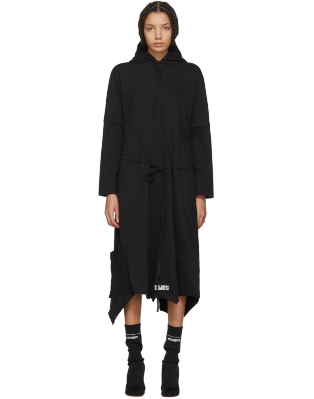 photo Black Panelled Hooded Dress by Vetements - Image 1