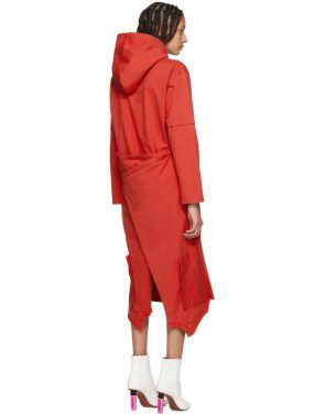 photo Red Panelled Hooded Dress by Vetements - Image 3