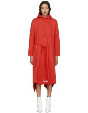 photo Red Panelled Hooded Dress by Vetements - Image 1