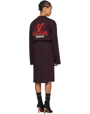 photo Burgundy Jersey Logo Dress by Vetements - Image 3