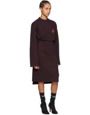 photo Burgundy Jersey Logo Dress by Vetements - Image 5
