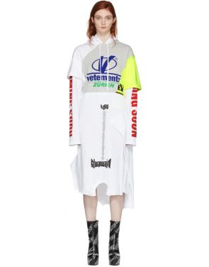 photo Grey and White Panelled Printed Hoodie Dress by Vetements - Image 1
