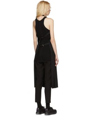 photo Black Wool Pleated Apron Dress by Noir Kei Ninomiya - Image 3