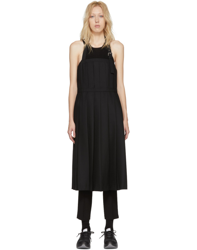 photo Black Wool Pleated Apron Dress by Noir Kei Ninomiya - Image 1