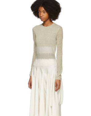 photo Beige Needle Punch Dress by Loewe - Image 4