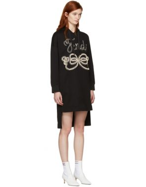 photo Black Pearls Bow Hoodie Dress by Fendi - Image 2