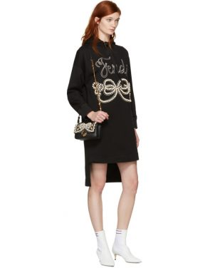 photo Black Pearls Bow Hoodie Dress by Fendi - Image 4