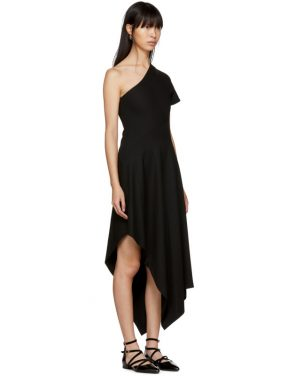 photo Black Slashed Panel Single-Shoulder Dress by Rosetta Getty - Image 2