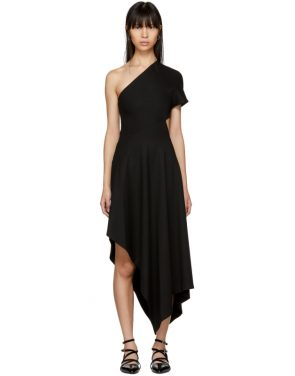 photo Black Slashed Panel Single-Shoulder Dress by Rosetta Getty - Image 1