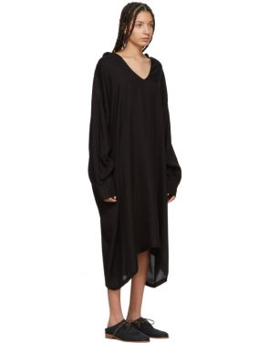 photo Black U-Hooded Dress by Ys - Image 2