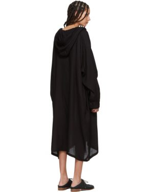 photo Black U-Hooded Dress by Ys - Image 3