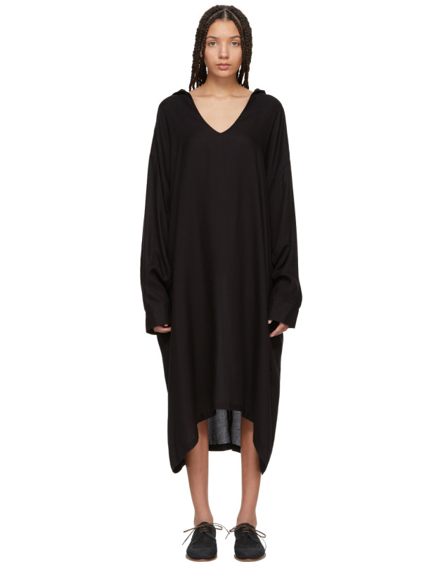 photo Black U-Hooded Dress by Ys - Image 1
