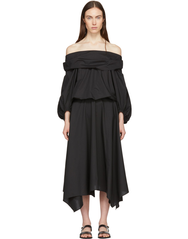 photo Black Bouffant Sleeve Off-The-Shoulder Dress by Enfold - Image 1