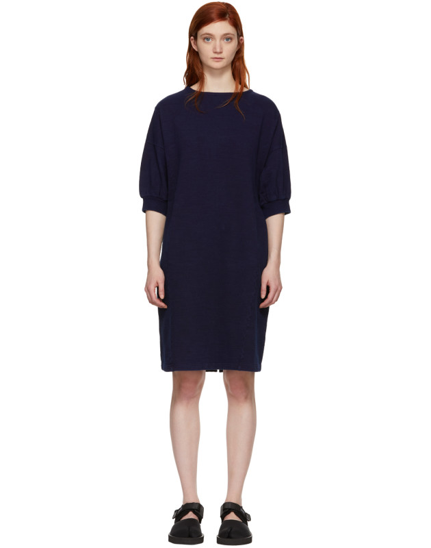 photo Indigo Bump Inlay Pullover Dress by Blue Blue Japan - Image 1