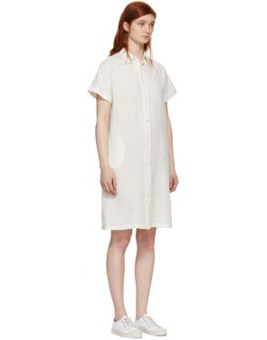 photo White Wide Shirt Dress by Blue Blue Japan - Image 2