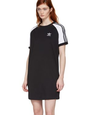 photo Black and White Raglan Dress by adidas Originals - Image 4