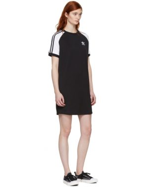 photo Black and White Raglan Dress by adidas Originals - Image 5