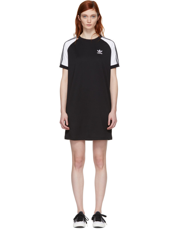 photo Black and White Raglan Dress by adidas Originals - Image 1
