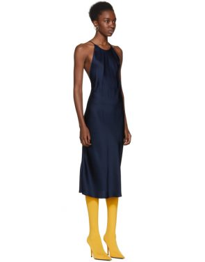 photo Navy Cross Back Slip Dress by Protagonist - Image 2