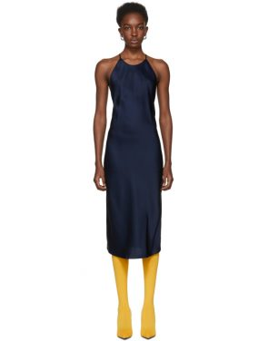 photo Navy Cross Back Slip Dress by Protagonist - Image 1