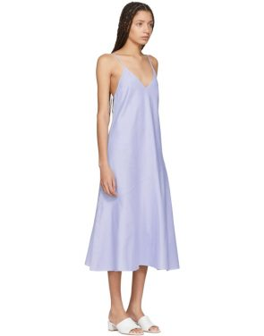 photo Blue Chambray Flared Bias Slip Dress by Protagonist - Image 2